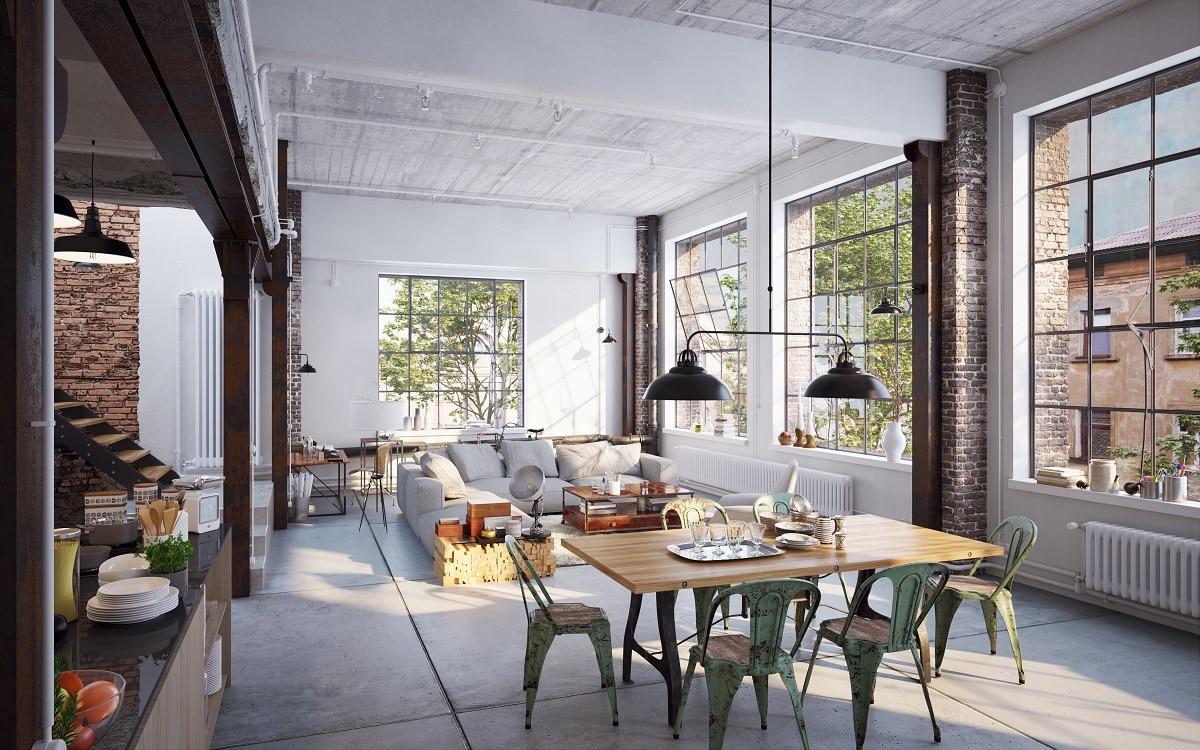 Hohe Decken, freigelegte Rohre und Backsteinmauern unterstreichen den einfachen, harten Industrial-Look. (Foto: Stock Adobe/Christian Hillebrand)