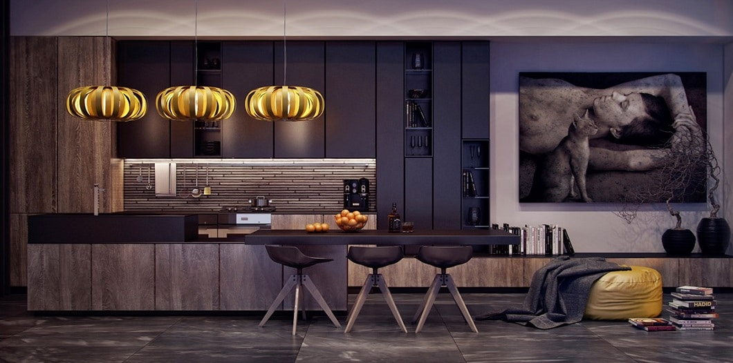 Rendered kitchen, dark, wood, black steel, luxurious, Visualizer: Anna Fedyukina