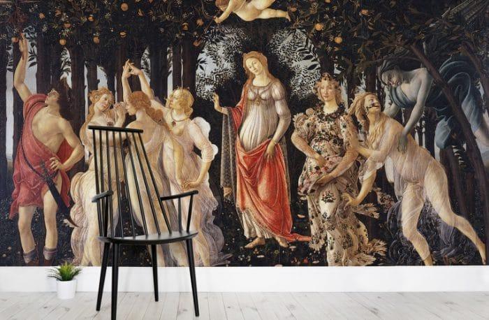 """Der Elfenreigen von Botticelli hing doch schon im Wohnzimmer Ihrer Großmutter, oder? Jetzt kostengünstig nach Hause holen mit der 3D-Tapete von murawalls. Wallpaper """"Botticelli Primavera"""", muralswallpaper.co.uk"""