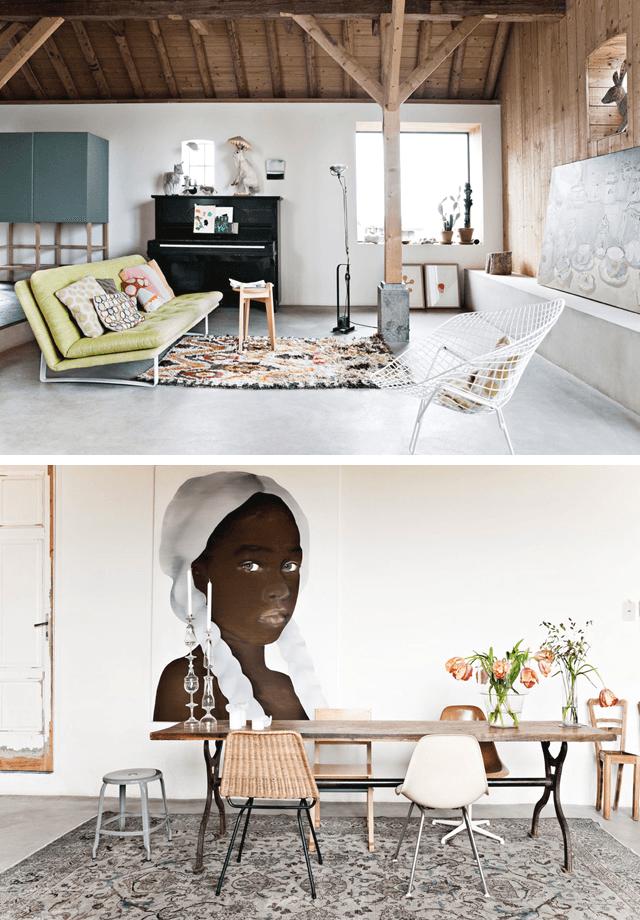 Wohnzimmer und Essbereich unterscheiden sich in ihrer Farbgebung (bunt bzw. gedeckt), wirken im Gesamtbild durch den durchgängigen Estrichboden und die Dachbalken als harmonisierendes Element aber stimmig. (Foto: ina-matt.com)