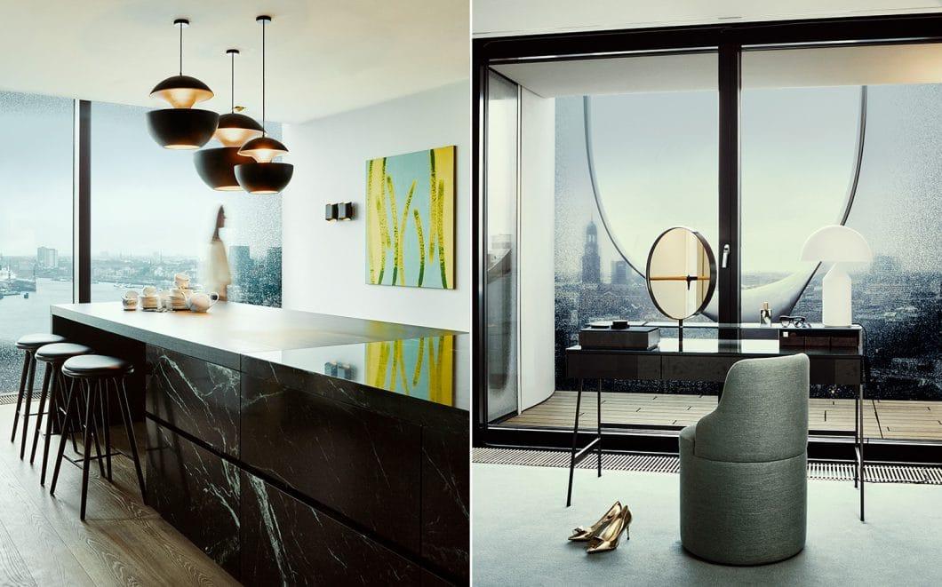 Elegant und formschön: Der opulente Koloss der Kücheninsel wird mit grazilen Designobjekten wie den Leuchten, Barhockern und Wandbildern ausgeglichen. Kochen mit Blick auf den Hafen - einzigartig! (Foto: Nina Struve, GG Magazine)