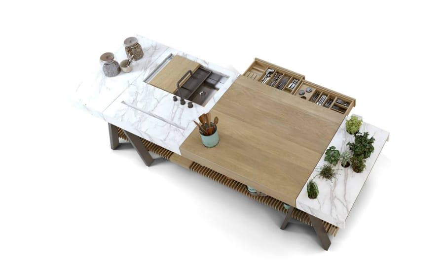 Das Küchenmodul Banco soll alle an einen Tisch bringen: Zum Kochen, Schneiden, Spülen - und natürlich Essen. (Foto: Neolith/ TheSize)