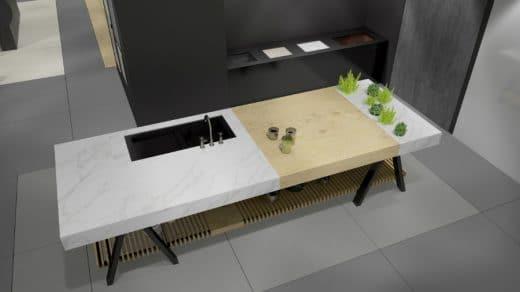 Eine mögliche Ausführung des Banco-Tisches: Mit Herdfeld und Spüle. Live zu sehen auf der LivingKitchen, 16.-22.01. (Foto: Neolith/ TheSize)