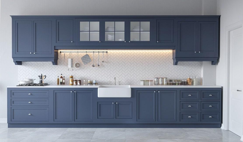 White Kitchen Blue Backsplash