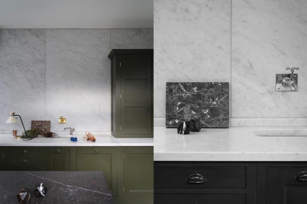 Küchenarbeitsplatten aus Marmor oder eine Wandvertäfelung aus hochwertigem Material lassen eine Shaker-Küche grazil und teuer wirken, statt rustikal und bäuerlich. (Foto: Plain English Kitchens)