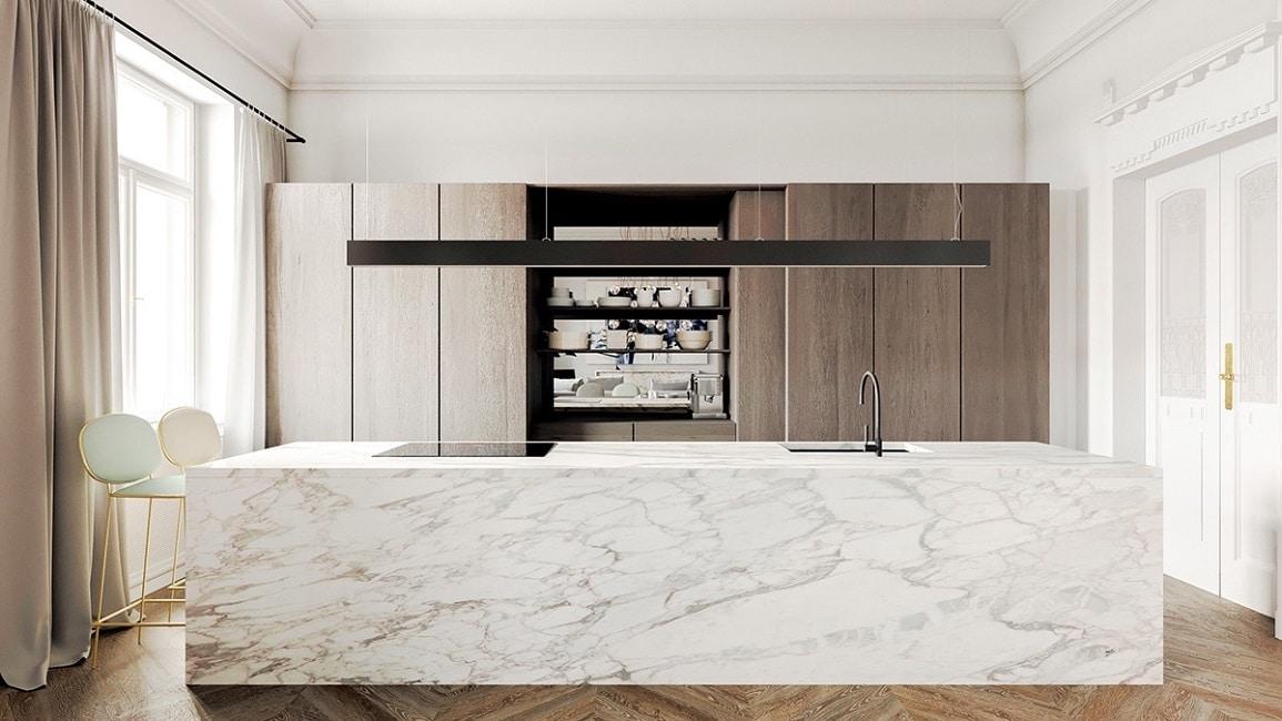 marmor kuche mit beton wand minimalistisch design, marmorküchen - küchendesignmagazin-lassen sie sich inspirieren, Design ideen