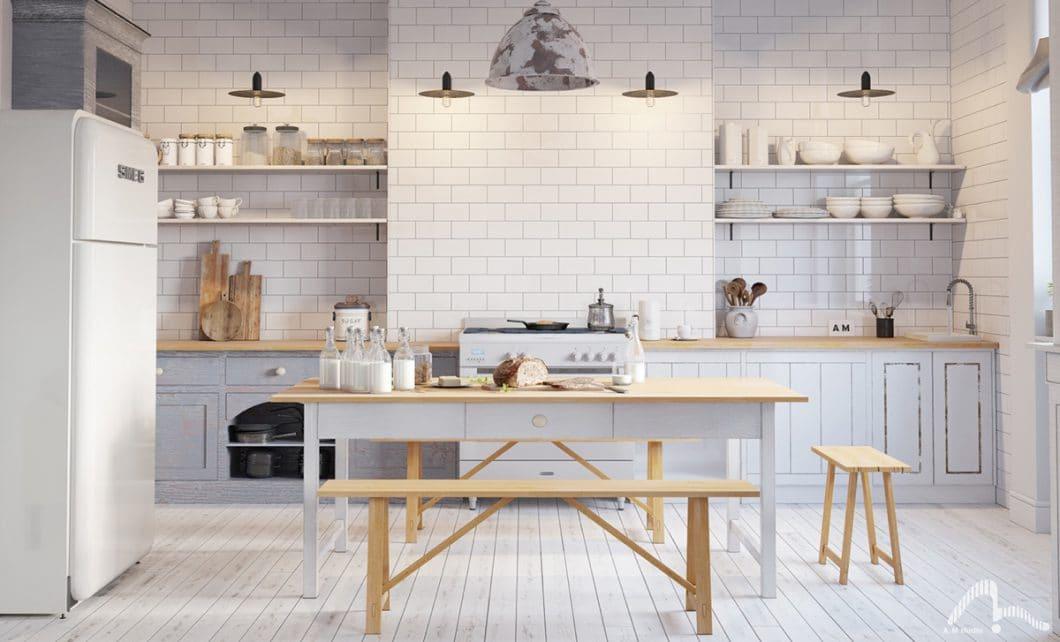 Weiße Küchen können romantisch, verspielt, puristisch, kühl oder elegant wirken. Oder alles zusammen - hier die skandinavische Variante. (Visualizer: AM Studio)