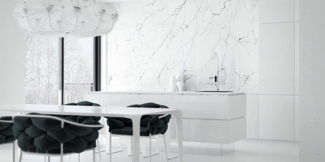 Ob als Arbeitsplatte, als Wandverkleidung oder als Küchenaccessoire: Marmor in der Küche ist wunderschön anzusehen und wirkt sofort elegant. (Visualizer: Daniel Nagaets)