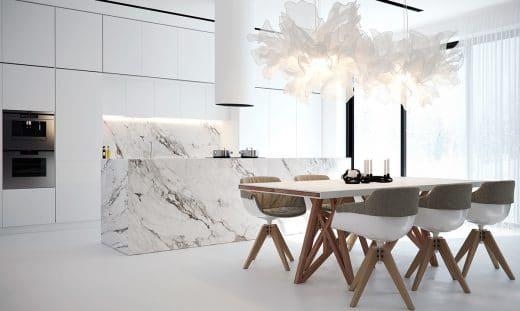 Früher eine Skulptur, heute ein Küchenblock: Marmor wird seit eh und je gern als Ausdruck eleganter Formen verwendet. (Visualizer: Stanislav Borozdinskiy)