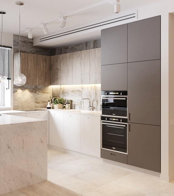 Hier Wird In Einer Küche Mit Zwei Verschiedenen Marmor Texturen Gespielt.  (Visualizer: Marina Tsishyna U0026 Nastya Ivanchuk)