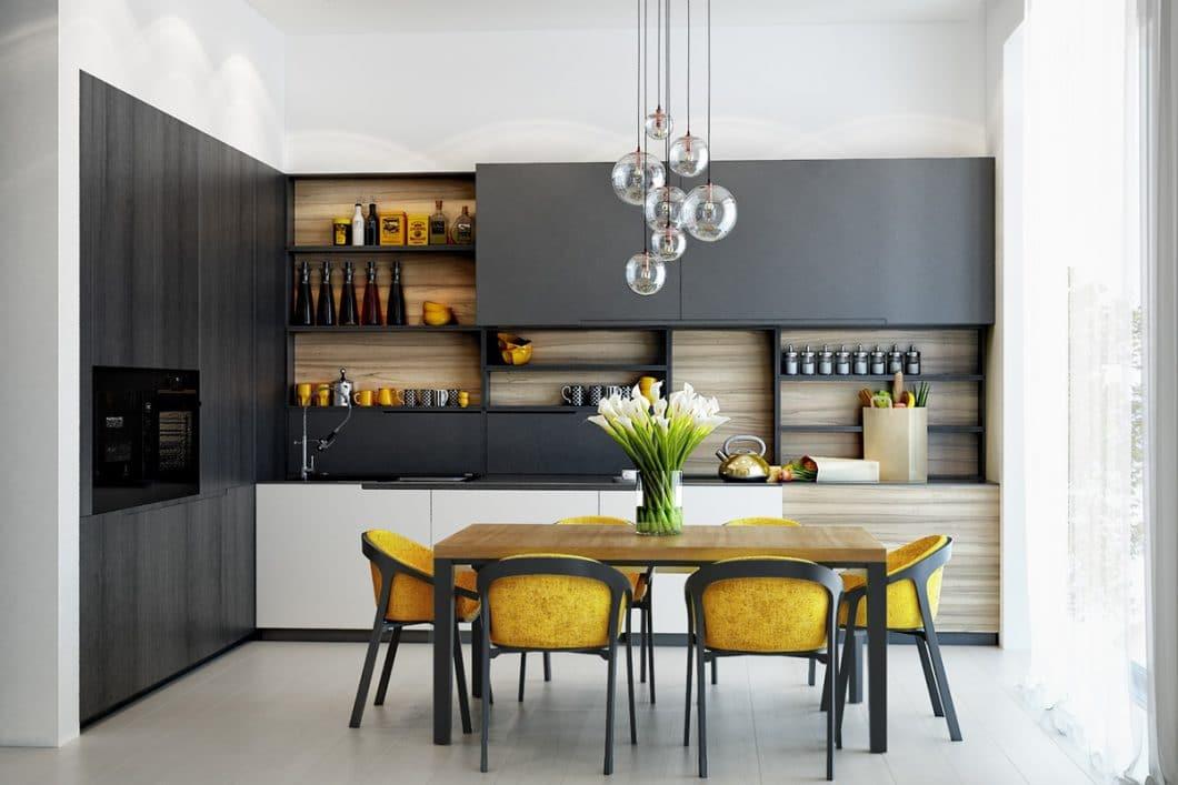 Gelbe Küchen müssen nicht laut oder anstrengend sein - sie können auch mit kleinen Farbtupfern wirken. (Foto: Olga Podgornaja)