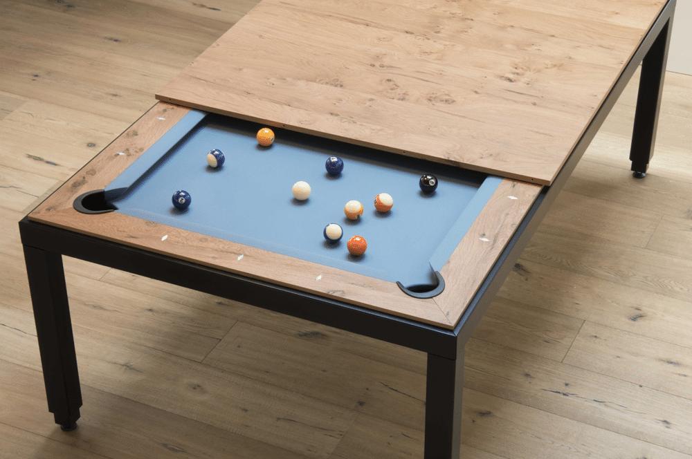 Die Fushiontables sind eine Kombination aus Esstisch und Billardtisch: Elegant und funktional zugleich. (Foto: Saluc)