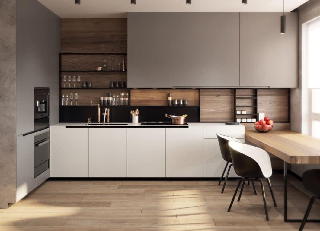 Offene Küchenregale werden zum Spagat zwischen Ausstellungsfläche und gut zugänglichem Stauraum. Diese 31 Küchenregale haben es clever und elegant gelöst. (Foto: Home Designing)