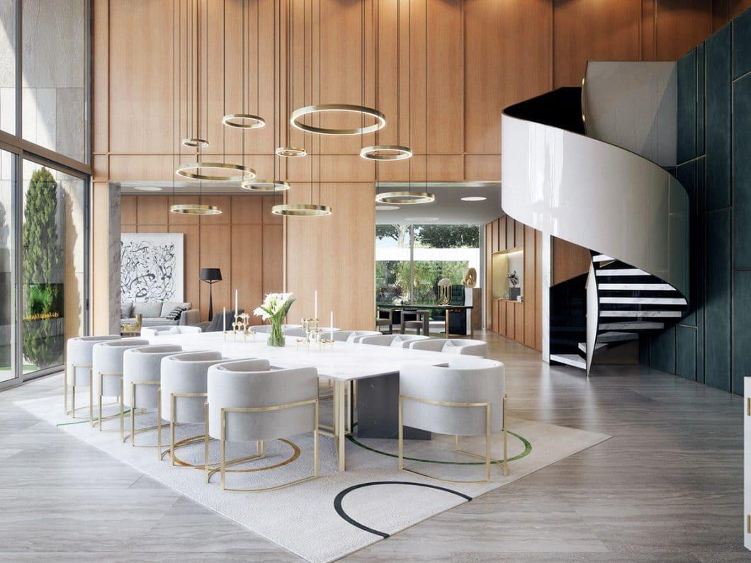 Das Anwesen ist zwar nur eine Visualisierung, kann aber jederzeit so umgesetzt werden. Es zeigt einen luxuriösen Lifestyle im eleganten Mid Century-Stil der 50er Jahre. (Visualizer: Aleksandr Kalinov/ Home Designing)