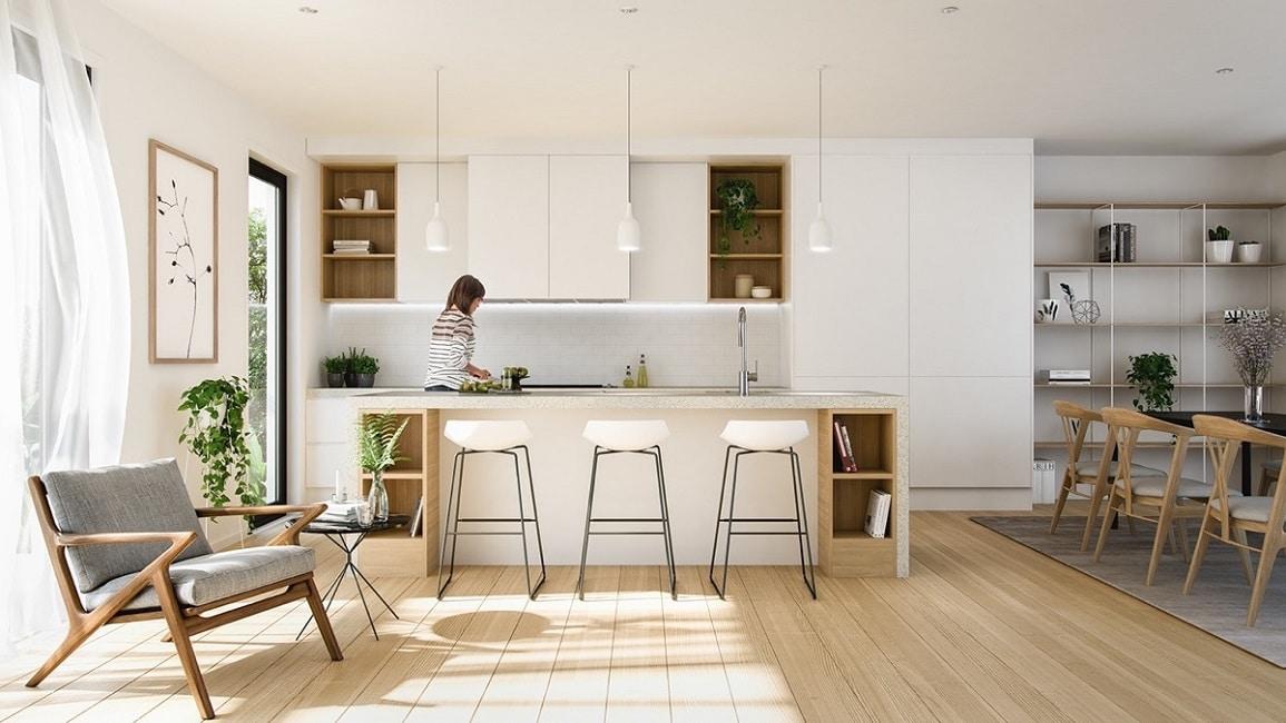 Minimalistische Weiße Küchen Reflektieren Einen Lichtdurchfluteten Raum Und  Harmonieren Besonders Natürlich Mit Hochwertigen Holzeinsätzen. (