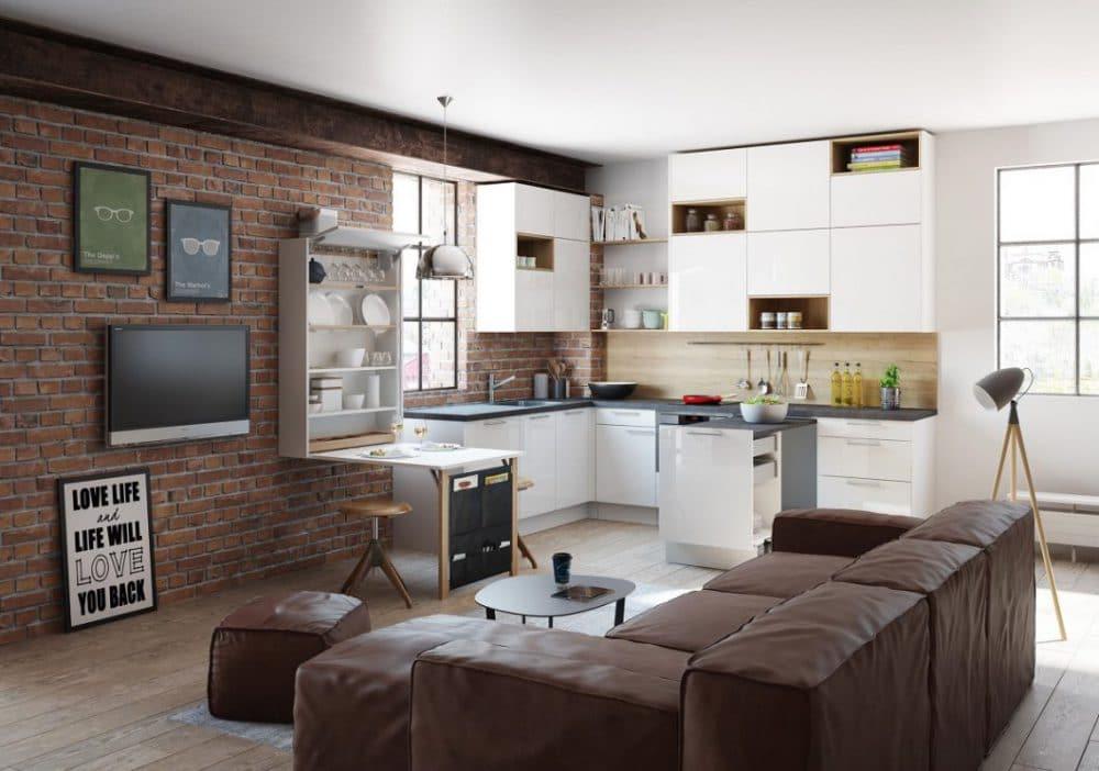 """großgeschrieben: In dieser """"Raumwunder""""-Küche kann beispielsweise der Esstisch (links an der Wand) ausgeklappt werden und schützt zusammengeklappt den Schrank vor neugierigen Blicken. (Foto: ewe)"""