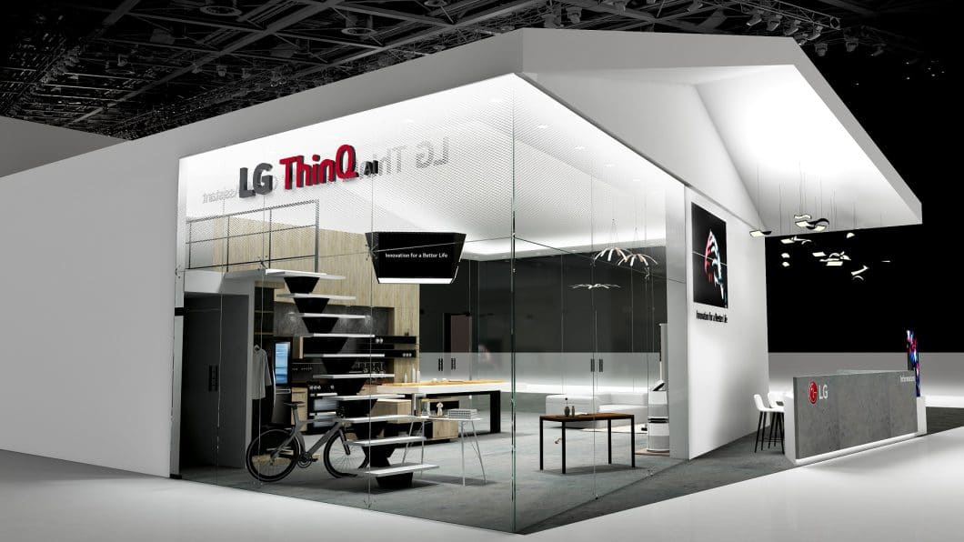 Auf der Elektronikmesse CES in Las Vegas präsentierte LG Electronics an einem futuristisch angehauchten Stand seine Küchengeräte der Zukunft. (Foto: LG Electronics)