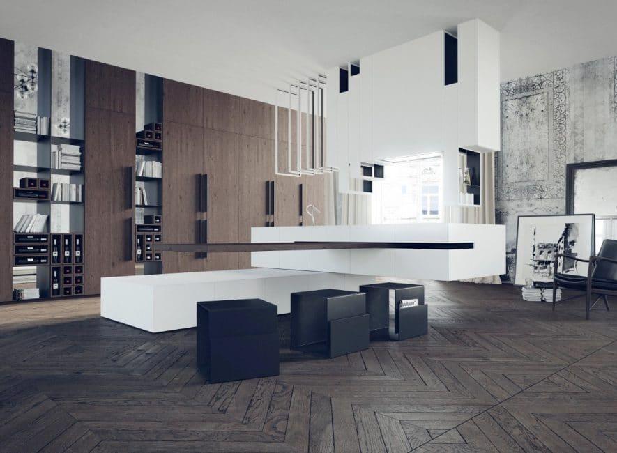 """Dieser Küchenentwurf ist ein wahres architektonisches Meisterwerk – die freistehende Küche wirkt nahezu schwerelos. Ein besonderes Highlight ist die """"schwebende"""" Tischplatte. (Visualizer: Delta Tracing)"""
