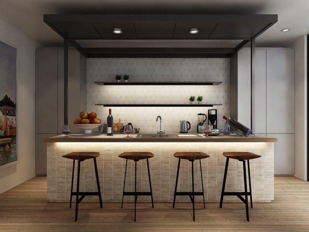 Eine Küchenrenovierung kann schon mit kleinen Details viel erreichen: Sanfte LED-Spots, eine neue Arbeitsplatte oder eine Extra-Bar verwandeln das Bild der Küche völlig. (Visualizer: Tracy Ong)