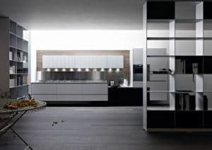 Aluminium und Edelstahl machen die Valcucine Riciclantica zu einem sehr widerstandsfähigen und gleichzeitig leichten Küchenmodell, das recycelt wieder der Umwelt zugeführt werden kann. Moderner Eco-Tech. (Foto: Valcucine)