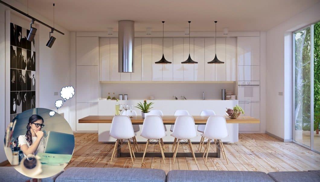 Hochglanz, weiß, mit freistehender Kücheninsel: wann werden Küchentrends wie diese eigentlich gesetzt - und wer beeinflusst das? (Visualizer: Artur Tamiola)