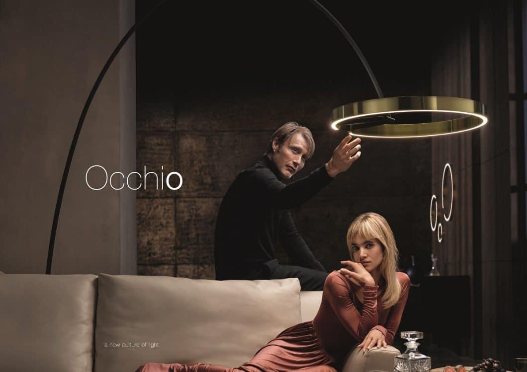 """Im Kurzfilm """"The Charm"""" zur Mito-Kollektion setzt Occhio auf prominente Charakterköpfe: Mads Mikkelsen und Sofia Boutella inszenieren ihre Gefühle über Licht und Gesten. (Foto: Occhio)"""