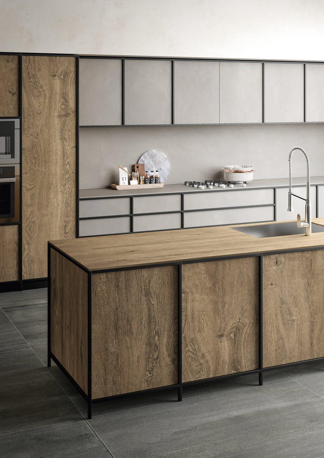 Während Holz die Wärme der Kollektion Rovere definiert, steht das eigentliche Material Feinsteinzeug für absolute Widerstandsfähigkeit, Abriebbeständigkeit, Wärme- und Kälteresistenz sowie Pflegeleichtigkeit in der Küche. (Foto: SapienStone)