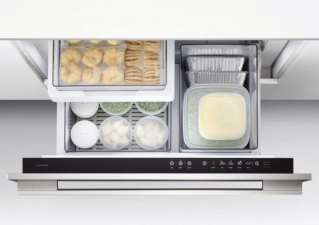 Eine ganz besondere Funktion des CoolDrawer™, dass es so am Markt selten gibt: per Knopfdruck lässt sich die Kühlschublade in eine kleine Gefriertruhe umwandeln, wo Temperaturen bis zu -25°C vorherrschen können. (Foto: Fisher & Paykel)