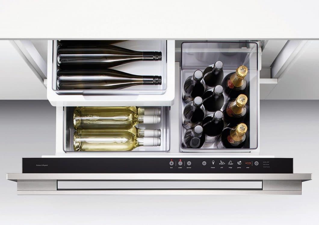 Ein Weinklimaschrank ist ein tolles Gerät für Weinliebhaber und -kenner. Mit dem CoolDrawer™ darf der Weinmodi zunächst getestet werden: für Rot- und Weißweine geeignet. (Foto: Fisher & Paykel)