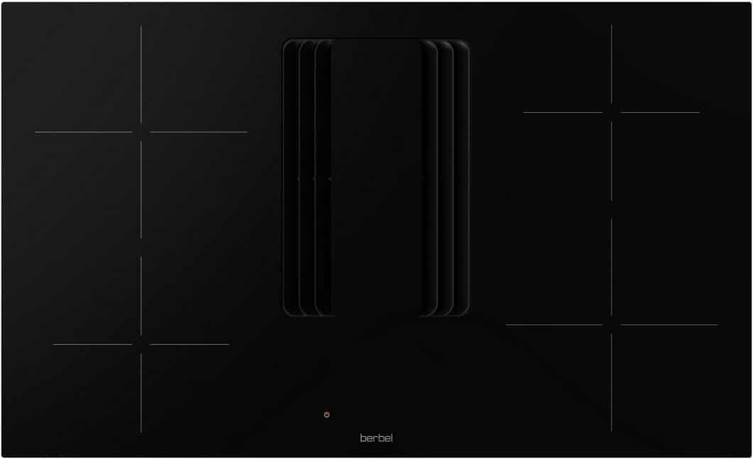 Funktional und ästhetisch reduziert: das Berbel Downline Compact-Kochfeld besticht mit kaum wahrnehmbarer Struktur im ausgeschalteten Zustand. Neu sind die 4 voreingeteilten Kochzonen und die unbewegliche Lüfterabdeckung aus Kunststoff. (Foto: berbel Ablufttechnik)