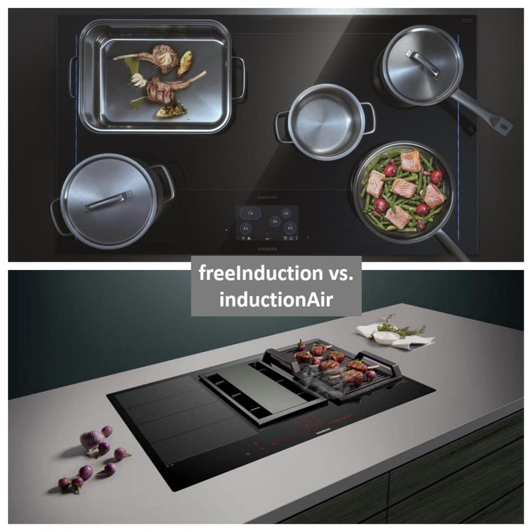 Die Siemens Kochfelder freeInduction und inductionAir sind vielversprechende Elektrogeräte für die Küche 2019. Entscheiden muss sich der Kunde nur zwischen einem Gerät mit Dunstabzug - und einem mit maximaler Kochfreiheit. (Foto: Siemens Hausgeräte)