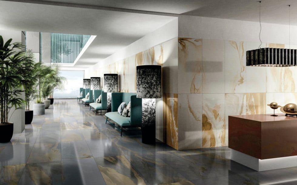 """Kosmisch schöne Wandverkleidungen für das gesamte Haus: mit der """"Cosmic Marble""""-Kollektion bieten Iris Ceramica und Diesel Living neben Beton- und Glasoptik auch eine inspirierende Naturstein-Optiken an. (Foto: Iris Ceramica Group)"""