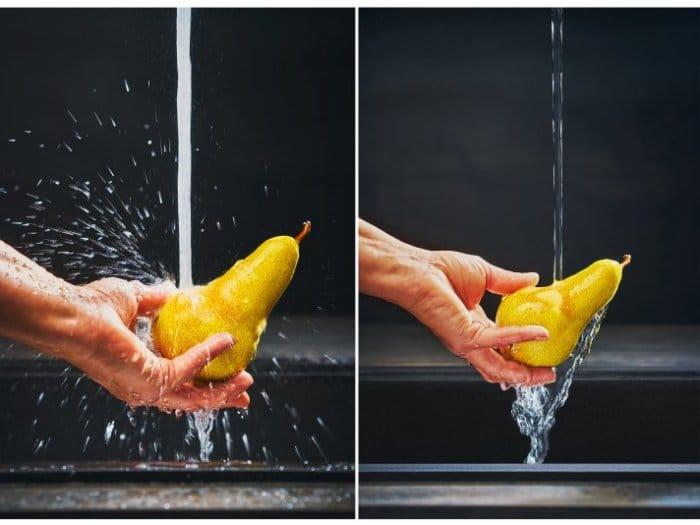 Der Unterschied ist deutlich zu sehen - und noch deutlicher zu spüren: mit einem Laminarstrahl wie in den Spezial-Armaturen von FRANKE wird der Wasserstrahl deutlich sanfter und spritzfreier gebündelt. (Foto: Franke)