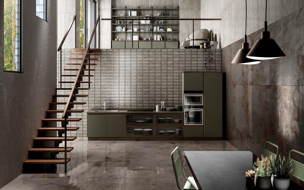 """""""Metal Perf"""" imitiert den Industrial Style durch Küchenfliesen und -kacheln mit fein gezeichneten Äderchen aus Bronze und Kupfer. (Foto: Iris Ceramica Group)"""
