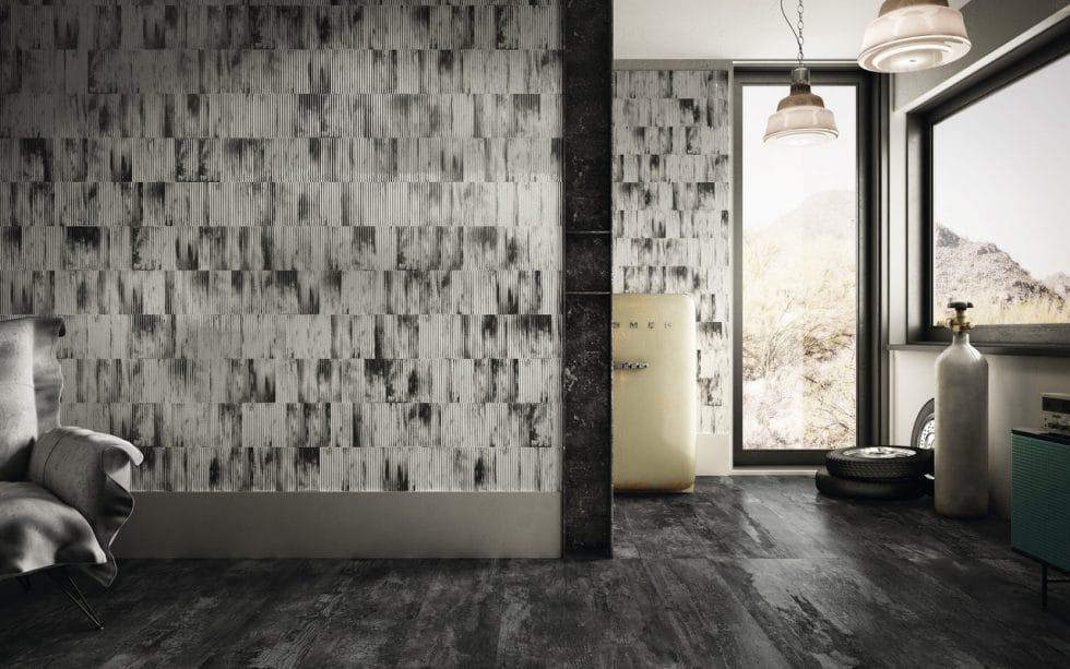 Oxidiertes Wellblech: der Gedanke daran lässt einen zunächst schlucken. Tatsächlich sieht die Küchenwand aus der Kollektion von Iris Ceramica und Diesel Living aber höchst stilvoll aus. (Foto: Iris Ceramica Group)