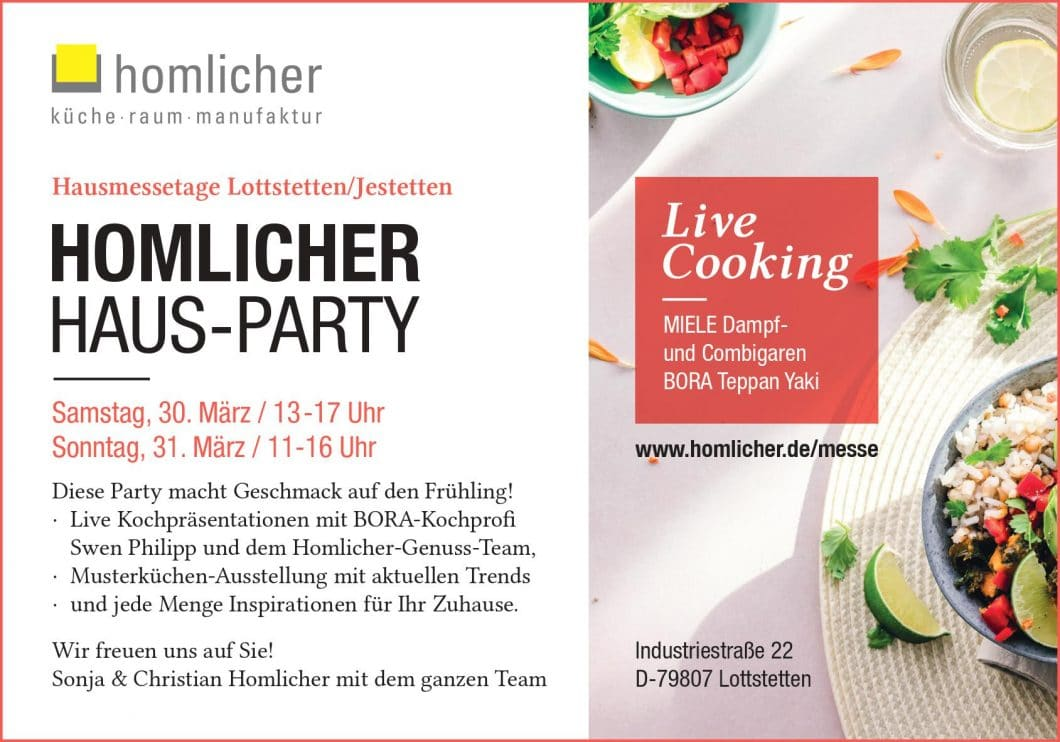 Hausmessetage bei Homlicher: lernen Sie das Studio kennen und genießen Sie kulinarische Köstlichkeiten von professionellen Köchen. (Foto: homlicher)