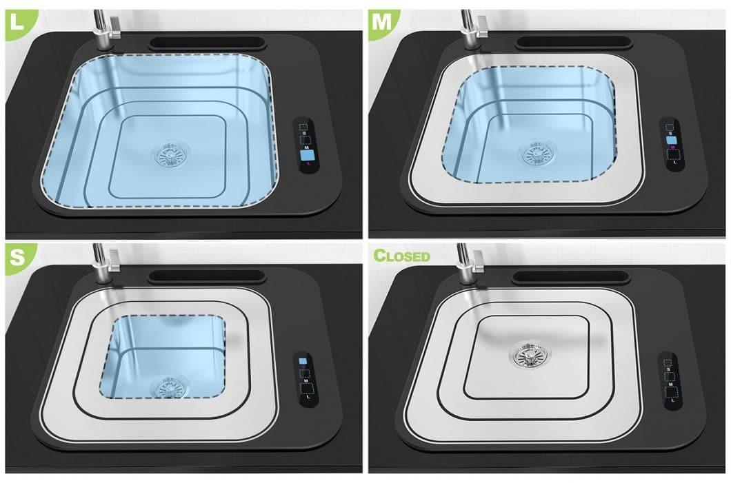 """Das """"Lifting Sink"""" soll es nach Produktentwicklung in 3 verschiedenen Größen geben: S, M und L - oder ganz geschlossen. Das hilft nicht nur, Wasser in der Küche einzusparen, sondern sieht auch puristisch und hochwertig dank Edelstahleinsatz aus. (Foto: iF Design Award/ Zhengzhou University)"""