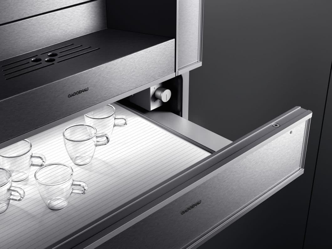 Die Funktionen der Wärmeschublade können abwechselnd genutzt werden. Zwischen 35 bis 80°C wird eine Wärmeschublade heiß. (Foto: Gaggenau)