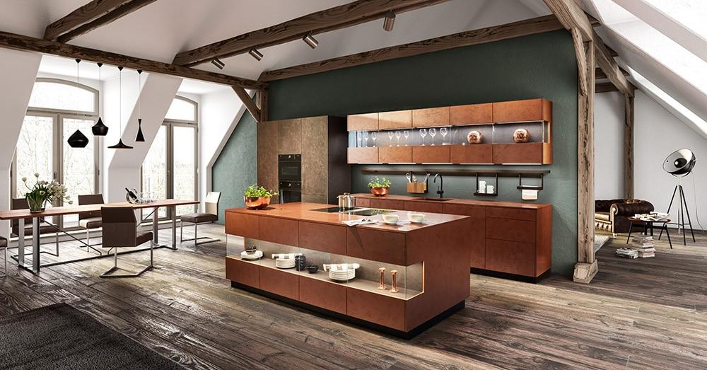 Neben Vollholz und Naturstein bietet zeyko seine individuellen Küchenräume auch in hochwertigen Metallen, wie beispielsweise Kupfer oder Bronze, an. (Foto: zeyko)