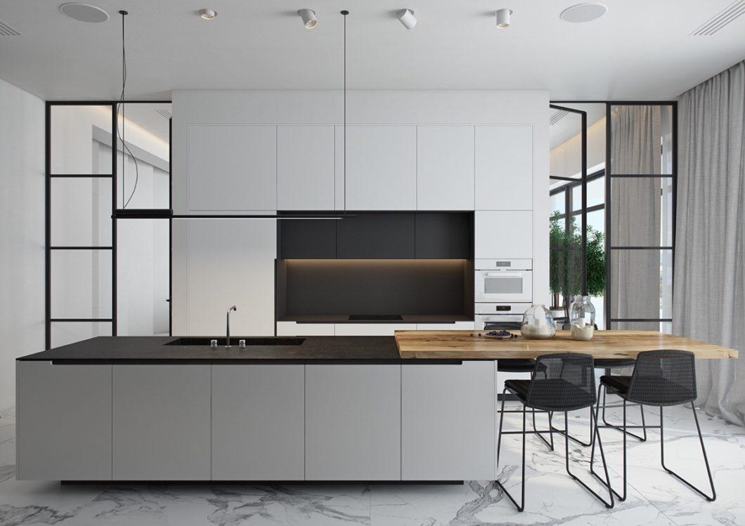Eine schwarz-weiße Küche, die es schafft, Ästhetik zu wahren und dennoch ein wohnliches Flair auszustrahlen. (Visualizer: Olesya Ligay)