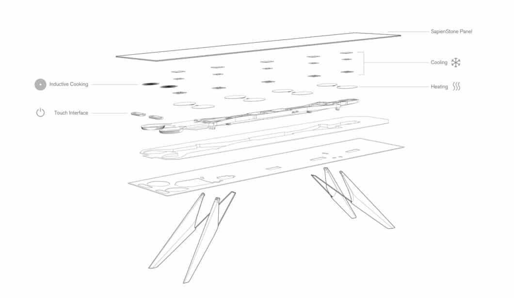 Im SmartSlab Table steckt ein ausgeklügeltes Zwiebelprinzip verschiedener Schichten, mit denen die Funktionalität zum Kochen und Kühlen sichergestellt werden kann. (Foto: Weisshaar/Kram for SapienStone)