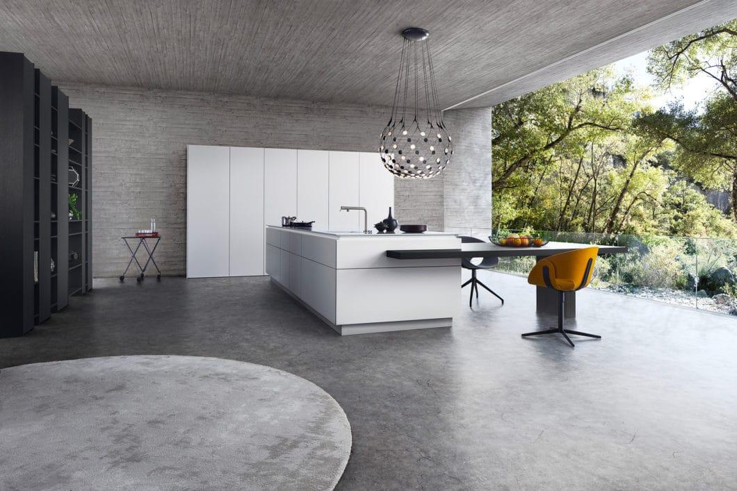Die Architekturmarke LEICHT legt sich auf seine Materialien für 2020 fest: Supermattlack, Holz und Beton spielen eine zentrale Rolle. (Foto: LEICHT)