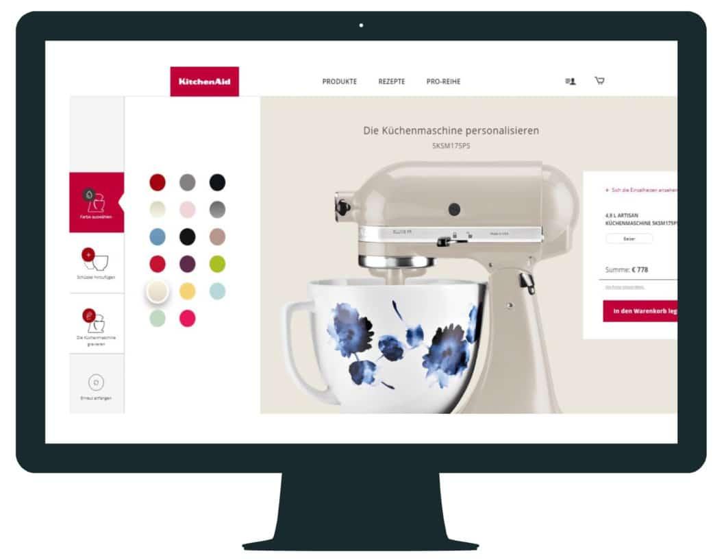In einem Online-Konfigurator sehen Sie alle Personalisierungsmöglichkeiten der KitchenAid-Küchenmaschine - sogar die vielfältige Auswahl an Rührschüsseln. (Foto: KitchenAid)