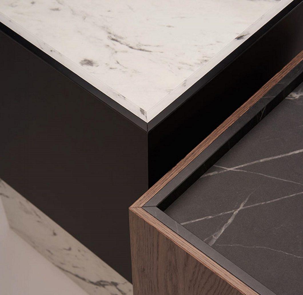 Höchst filigran verarbeiteter Marmor mit raffinierter Umkantung in Mattlack bzw. Holz: mit diesem täuschend echten Perfect Sense-Mattlack gewann EGGER kürzlich den German Design Award 2020. (Foto: EGGER)