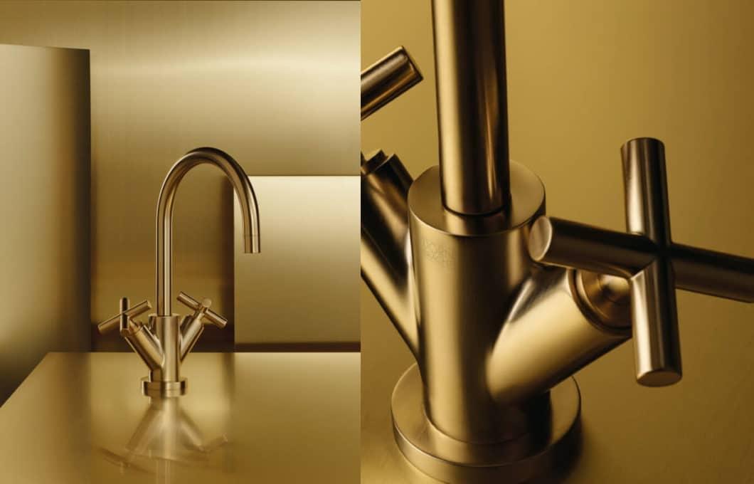 Die goldene Armatur: übertriebener Luxus oder sinnbildliche Verkörperung des Premiumanspruchs moderner Küchen? (Foto: Dornbracht)