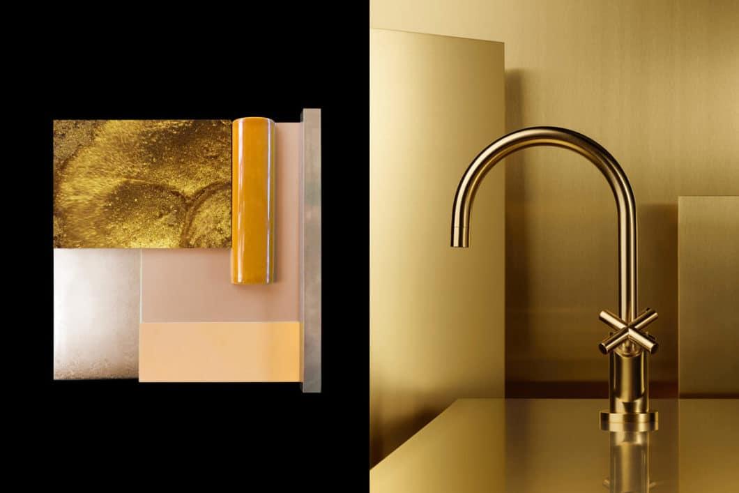 Alleinstellungsmerkmal: in reduzierten Küchendesigns bleibt die Armatur häufig als Solo-Designobjekt bestehen. Die goldene Armatur ist eine konsequente Schlussfolgerung, die Aufmerksamkeit auf den Spülbereich zu lenken. (Foto: Dornbracht)