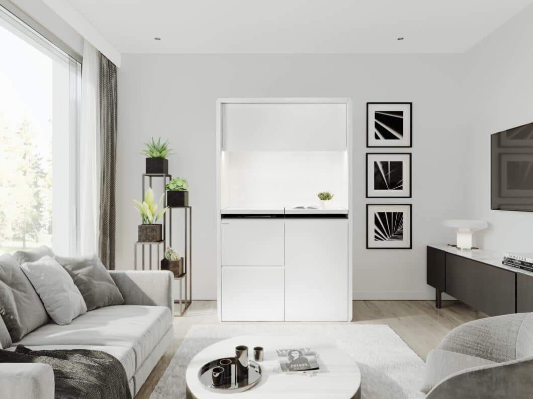 """Mit geschlossener Klappe wirkt die """"K9"""" von Kitchoo wie ein puristisches Highboard im Wohnraum. (Foto: Kitchoo)"""