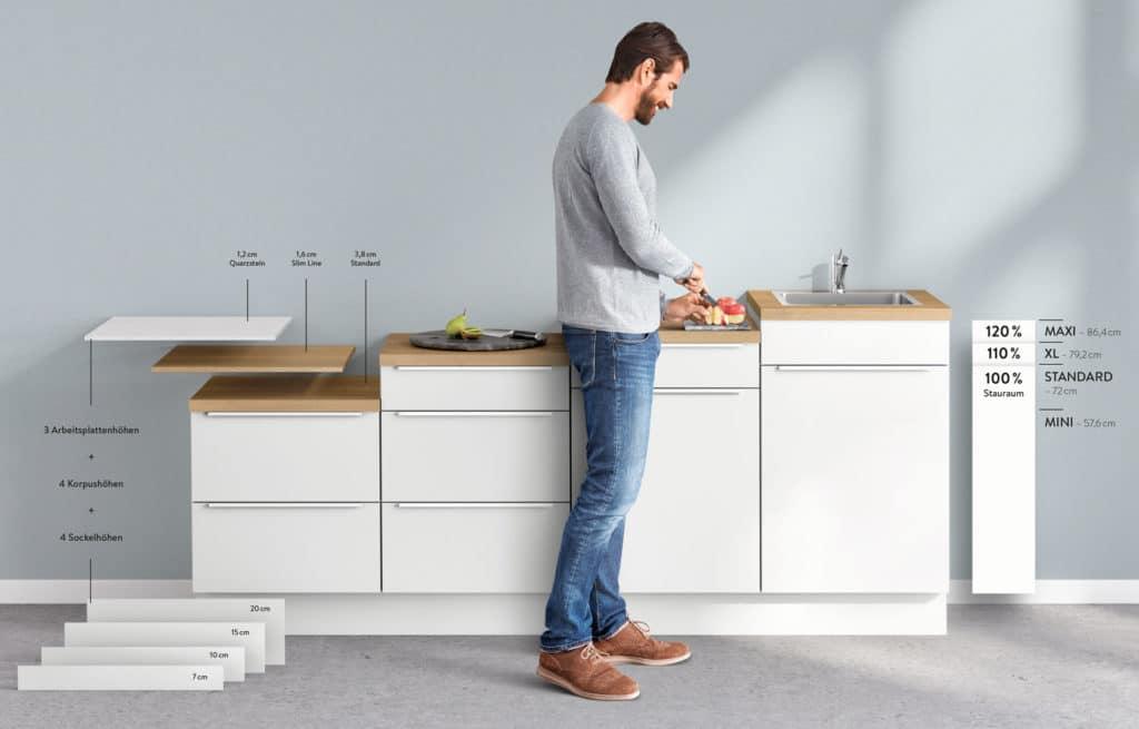 Maßgeschneidert: Sockel, Korpus und Arbeitsplatte können passgenau auf die Größe der Nutzer im Haushalt angeglichen werden, sodass komfortables und individuelles Kochen ermöglicht wird. (Foto: nobilia)