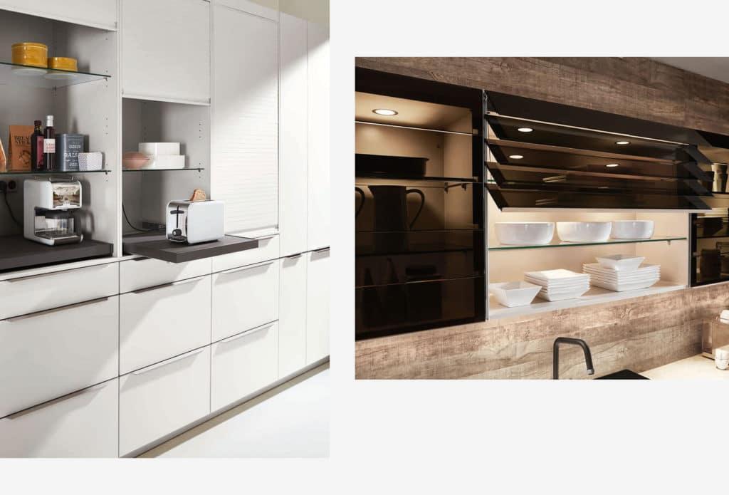 Vitrinen, Lamellenschränke, Pocketschränke: die Gestaltung für Oberschränke bestimmt zunehmend den Stil des Küchenraums und kann entsprechend vielfältig gestaltet werden. (Foto: nobilia)