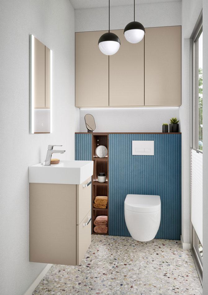 Die vielfältigen Rastermaße der nobilia-Möbel ermöglichen auch im Bad eine Anpassung auf kleinstem Raum. (Foto: nobilia)